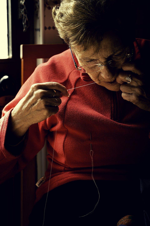 woman in Spain sewing