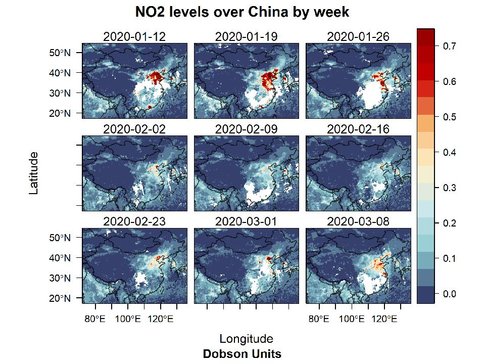 Nitrogen dioxide levels disappear over China during the coronavirus lockdown and then begin to reappear as the Chinese economy resumes last week.