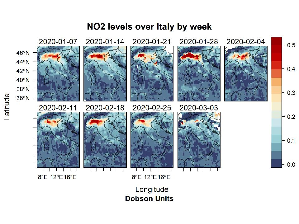 Nitrogen dioxide levels in the air above Italy's Po Valley decline as the country enters coronavirus lockdown.