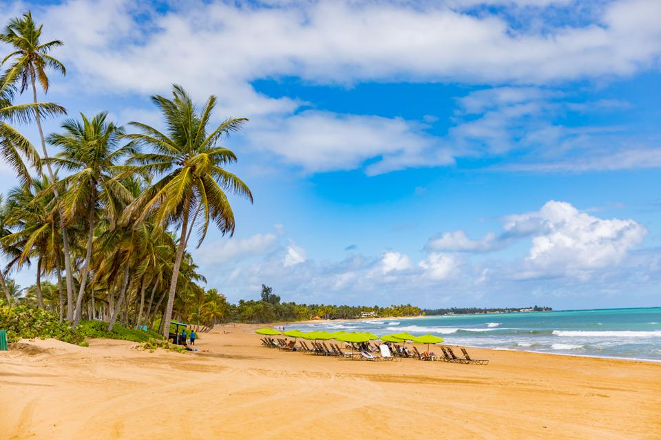 PUERTO RICO - View of the beach at the Wyndham Grand Rio Mar