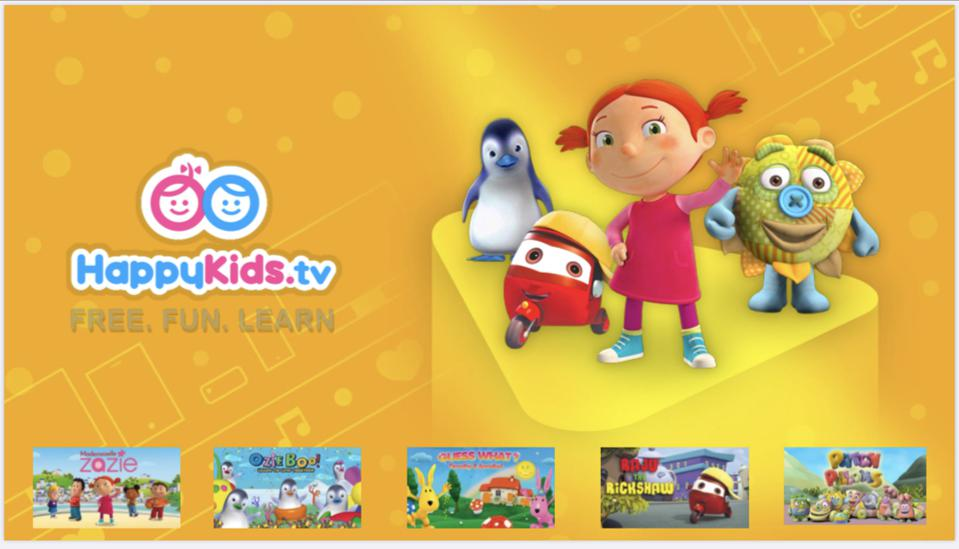Splash screen of HappyKids.TV streaming network, owned by Future Today