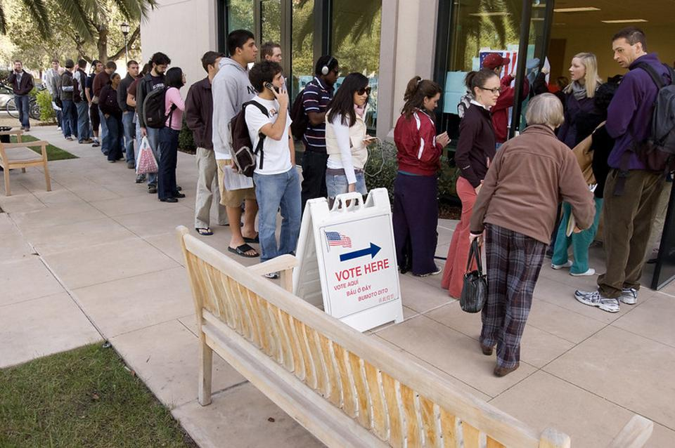 Students line up to vote on the Stanford University campus.