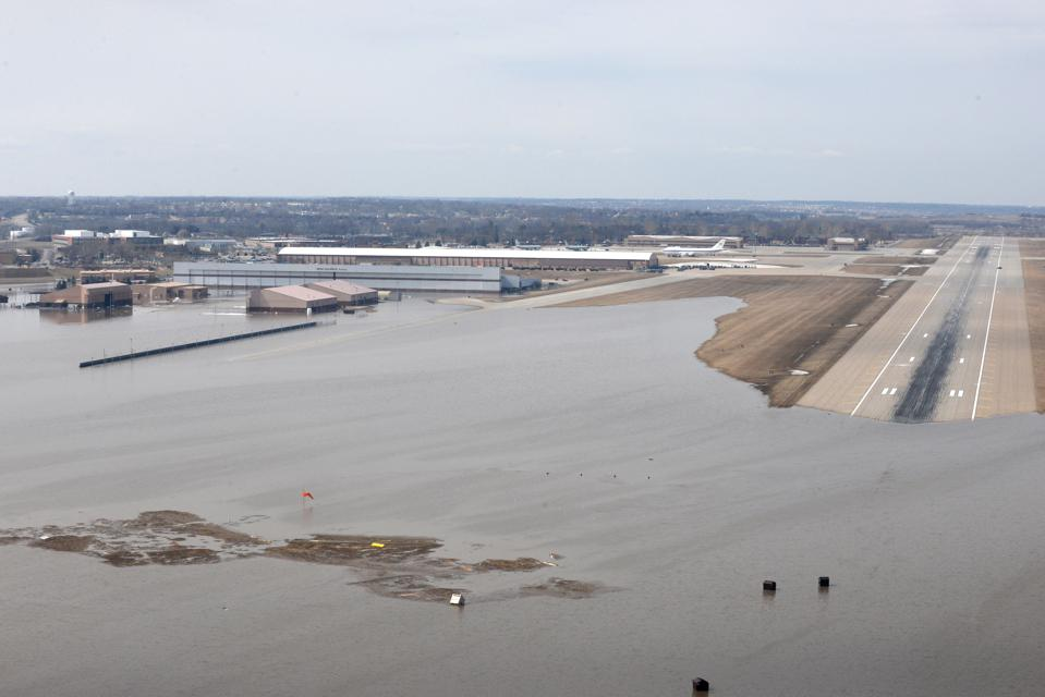 Flooded runway at Offutt Air Force Base.