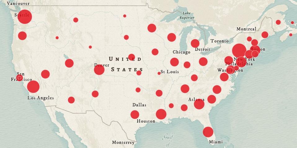 Coronavirus cases by state.