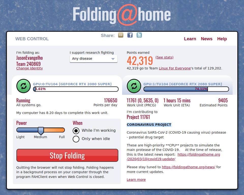 The Folding@Home ″Web Control″ page shows what projects your PC is dedicating resources to and gives you control over when it's active.