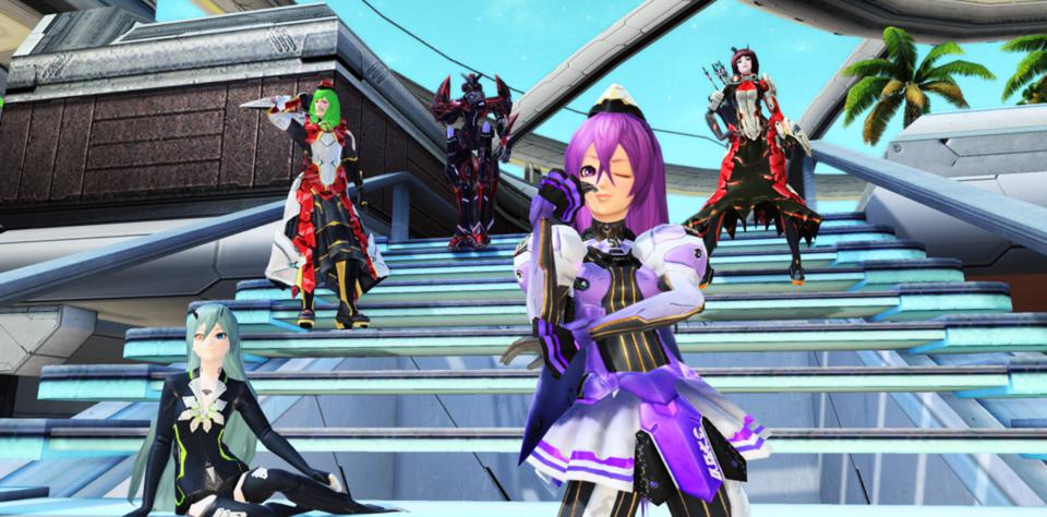 Posing on some steps in Phantasy Star Online 2.