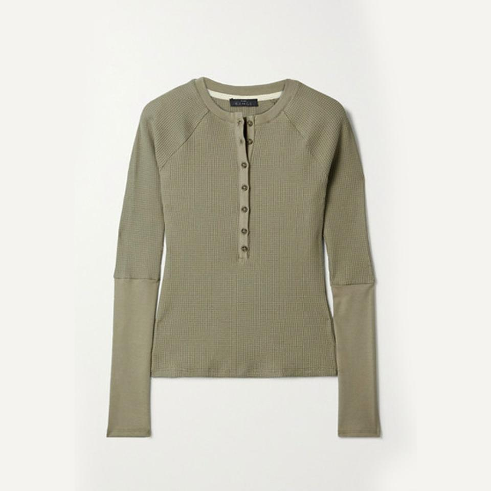 The Range Waffle Knit Cotton Blend Top