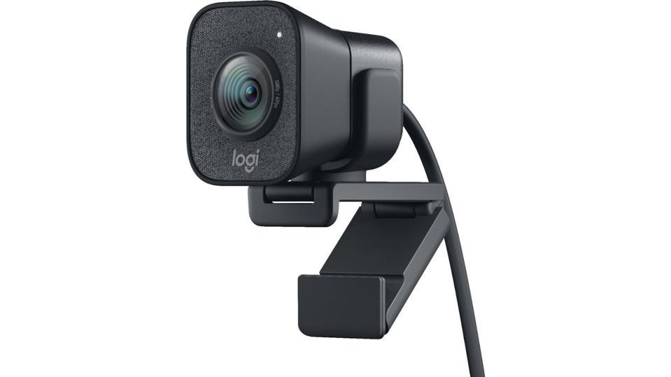 Black Logitech StreamCam webcam on a white background.