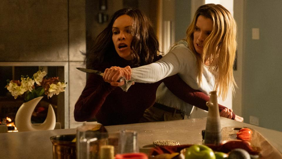 Hillary Swank and Betty Gilpin in Blumhouse's 'The Hunt'