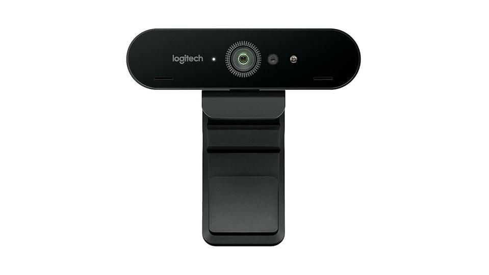 Logitech Brio webcam on a white background.