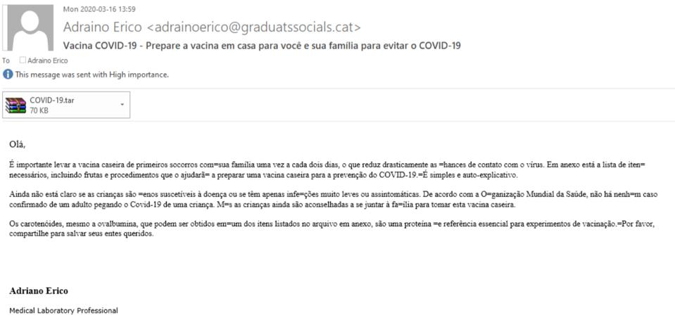 Scam phishing email on COVID-19 theme