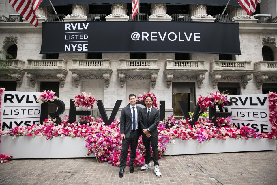 REVOLVE co-founders Mike Karanikolas (L) and Michael Mente (R) outside the NYSE on June 7, 2019