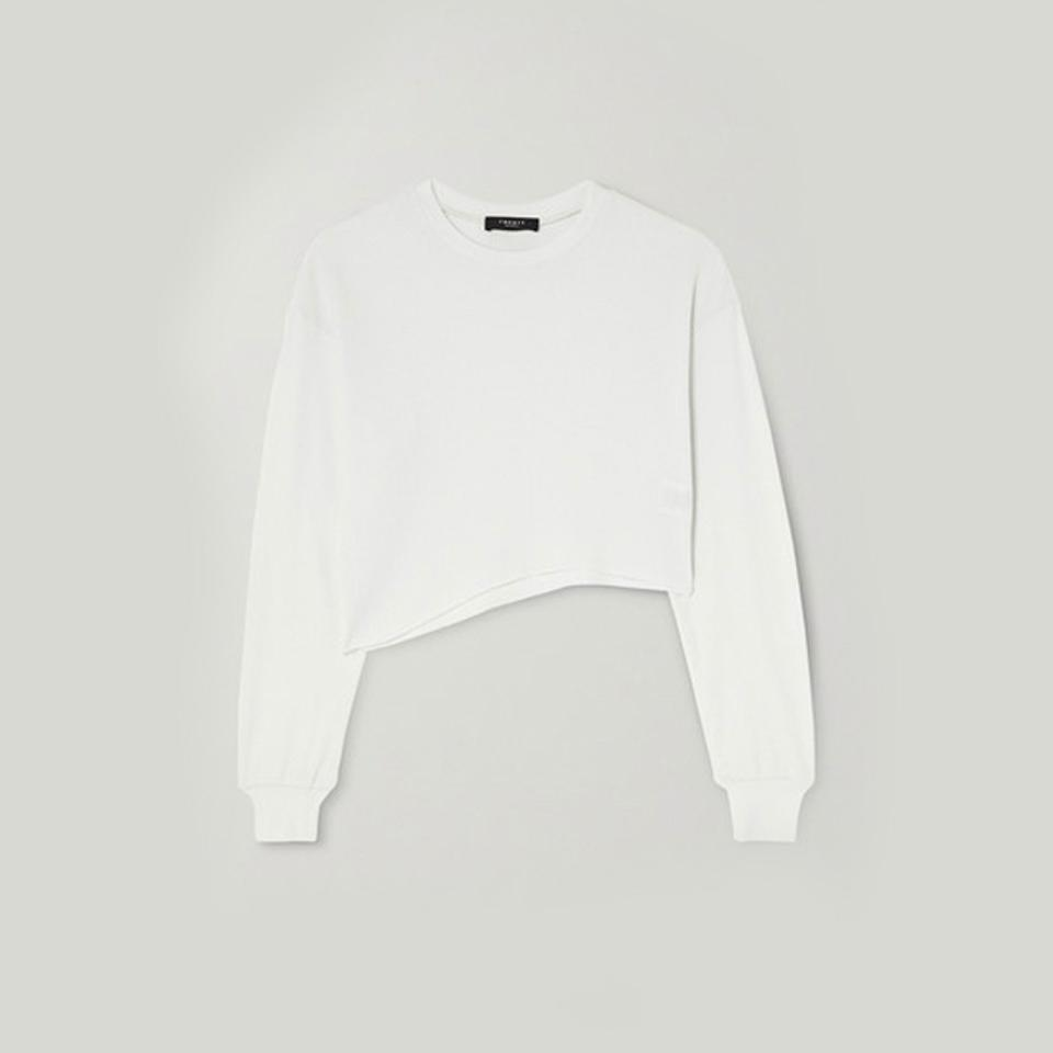TWENTY Montreal Everest Thermal Cropped Asymmetric Waffle-Knit Jersey Top