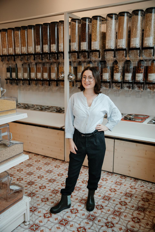 Milena Glimbovski in her store, Original Unverpackt.