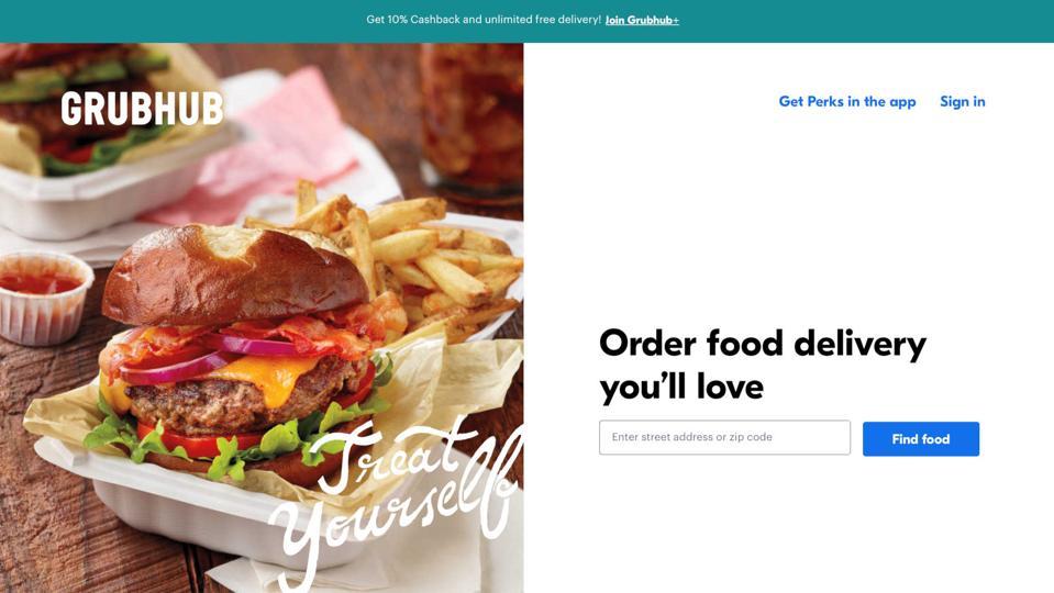Screenshot of the Grubhub website.