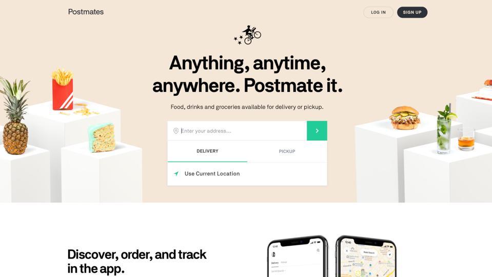 Screenshot of the Postmates website