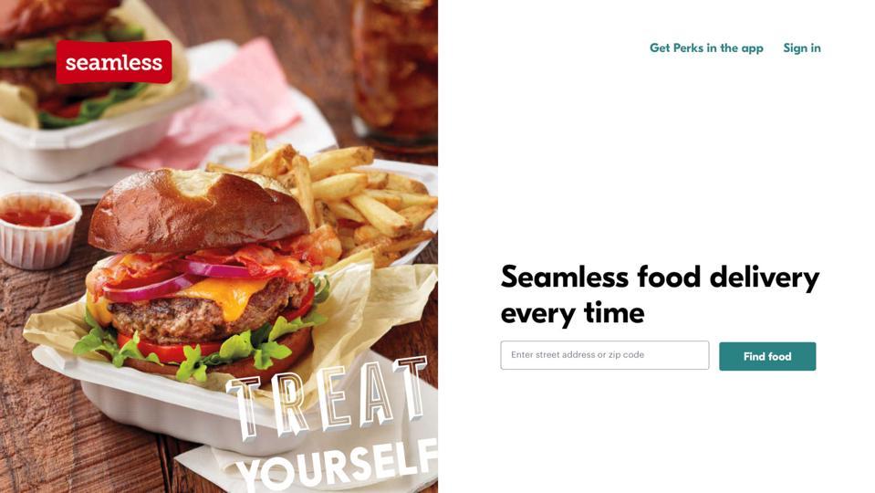 Screenshot of the Seamless website.