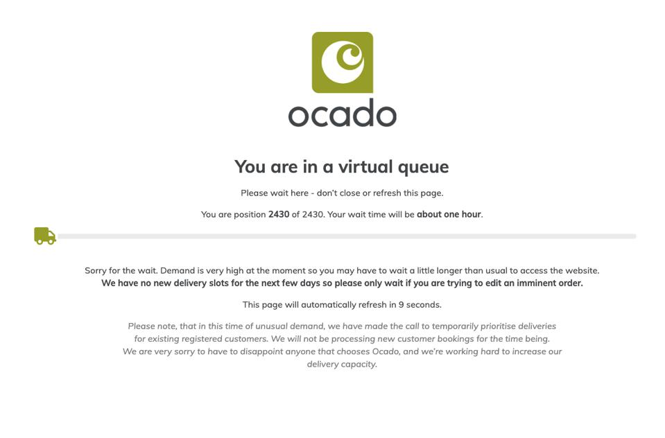 Forced to wait: Shoppers placed in a 'virtual queue' on Ocado