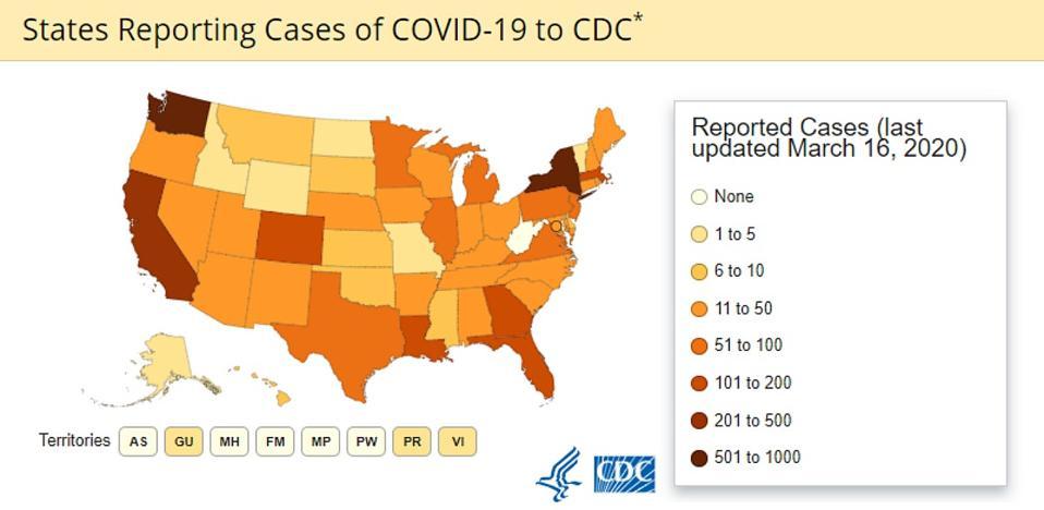 CDC coronavirus map