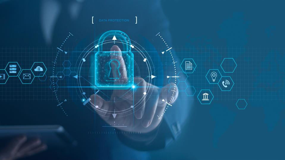 Cyber security network. Padlock icon and internet technology networking. Businessman protecting data personal information on tablet and virtual interface. Data protection privacy concept.