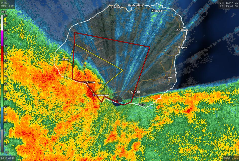 A radar image showing a tornado-warned storm moving into Kauai, HI, on Mar. 17, 2020.