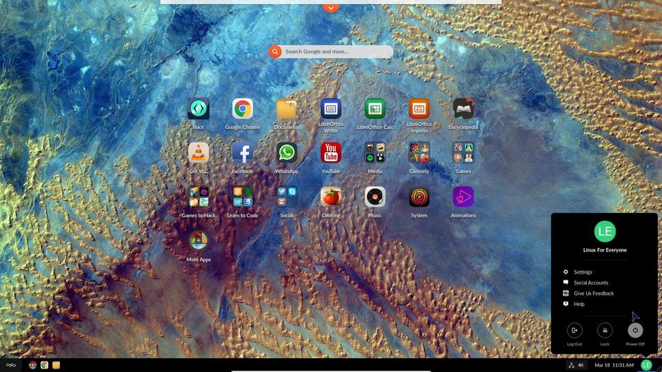 The default Endless OS desktop