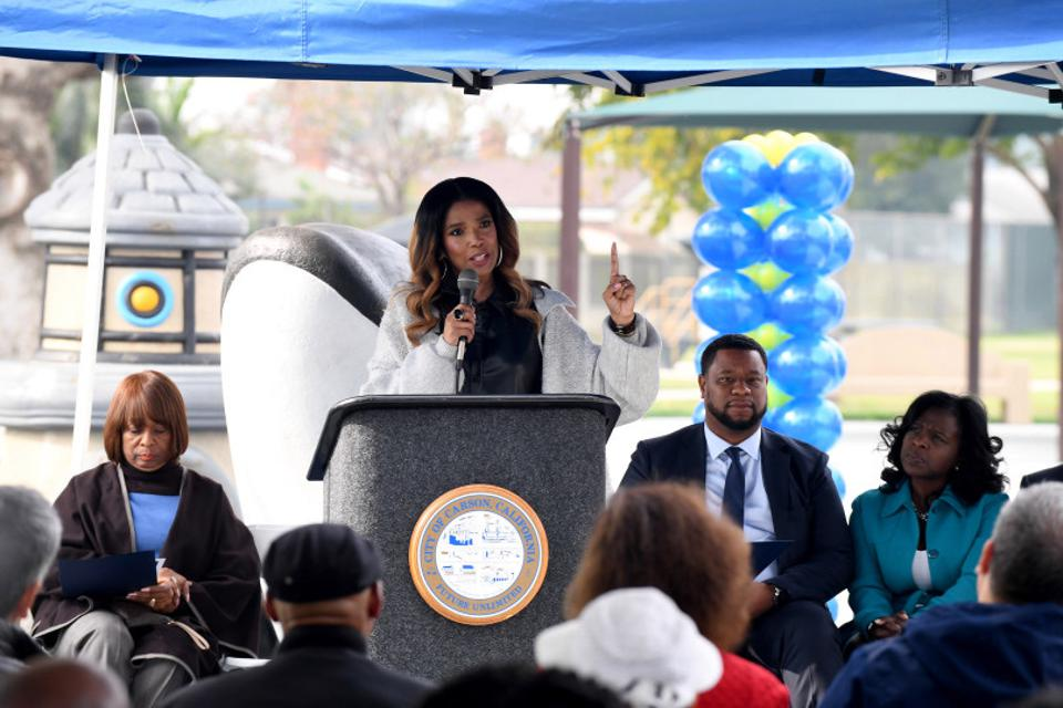 Areva Martin at all-abilities playground grand opening at Dolphin Park in Carson, California (January 16, 2020)