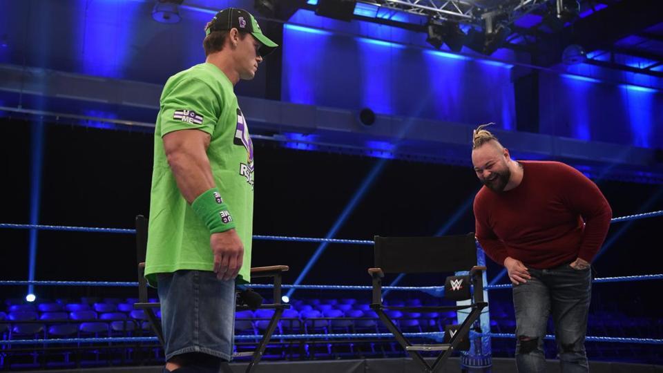 WWE SmackDown: John Cena and Bray Wyatt in an empty arena