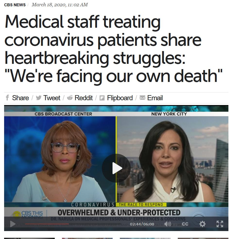 Screen shot of CBS This Morning with Dr. Tara Narula on coronavirus