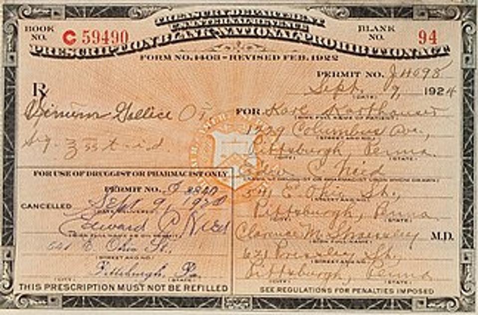 Prescriptions for Medicinal Spirits from 1924