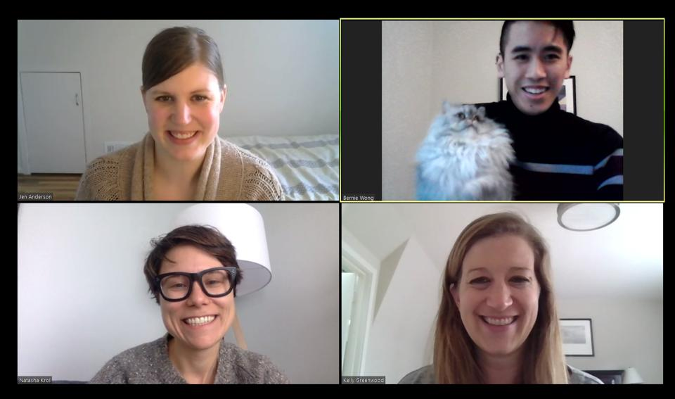 Mind Share Partners team members smiling in a group call.