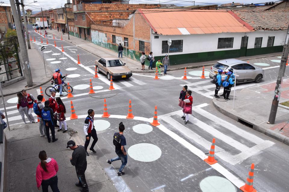 Vision Zero implemented in street design in Bogota.