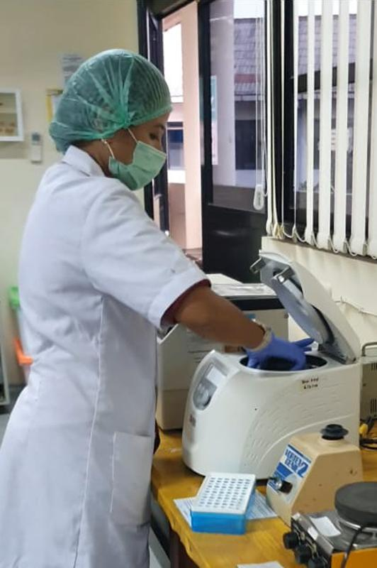 Puji Rianti carries out laboratory work at the genetic lab of the Department of Biology IPB University at IPB University in Bogor, Indonesia
