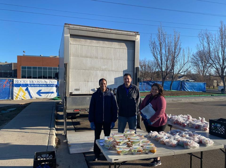 Denver distribution site for school meals program during school closures related to the coronavirus pandemic