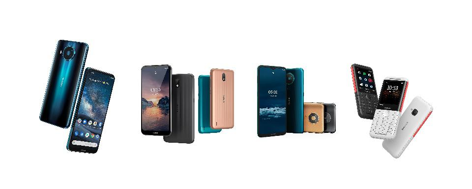 The new Nokia handsets from HMD Global, launched 19 March 2020