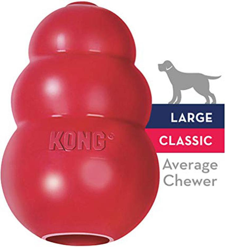 Large KONG Classic Dog Toy, red rubber toy for dog entertainment