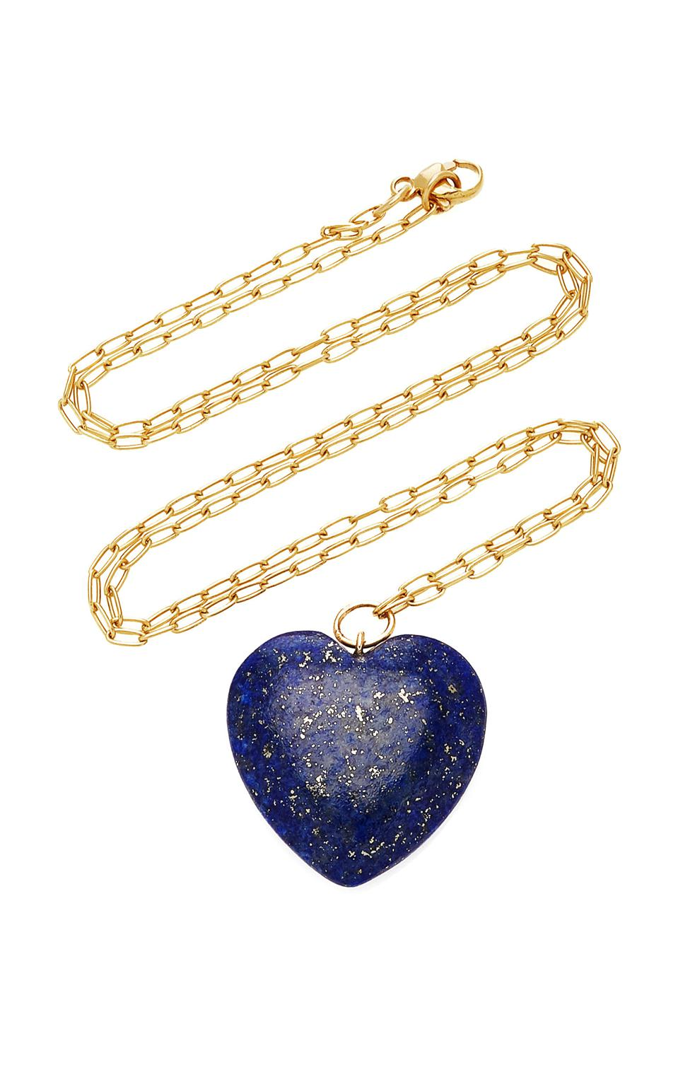 Lapis lazui and 18-karat gold necklace by New York luxury brand Haute Victoire is available online at Moda Operandi