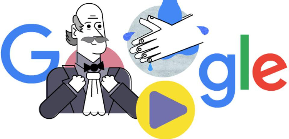 Color image of cartoon image of Ignaz Semmelweis and the word ″Google″