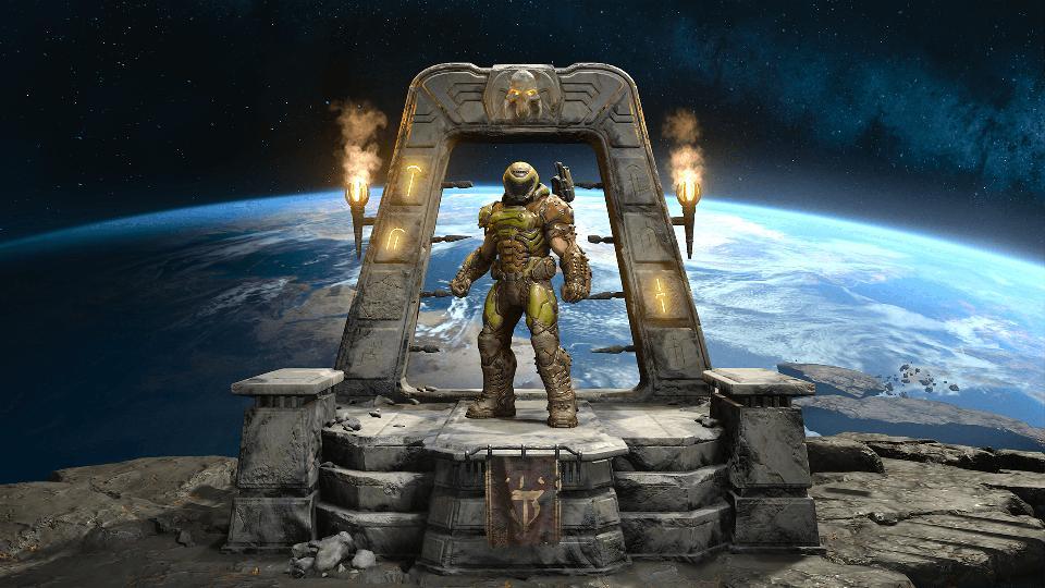The Doom Marine on a platform over Earth in DOOM Eternal.