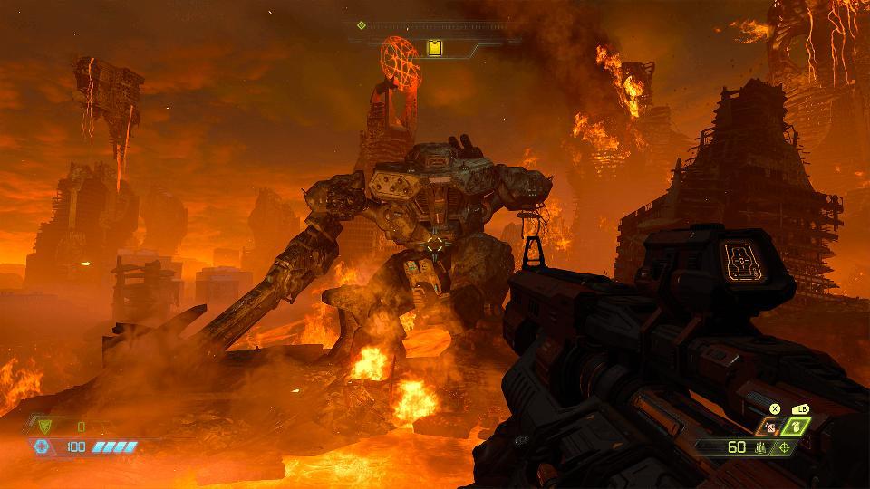 A broken mega robot in DOOM Eternal.