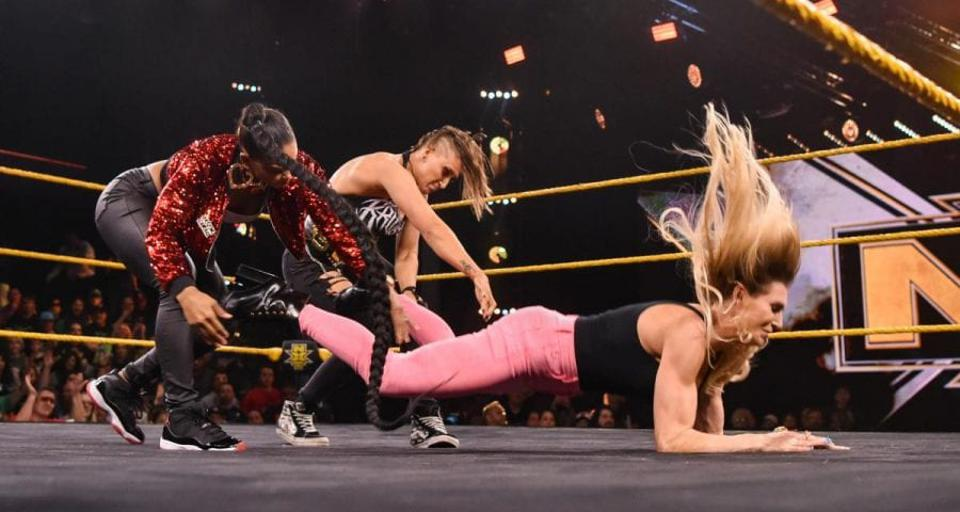 WWE NXT: Charlotte Flair is attacked by Rhea Ripley and Bianca Belair