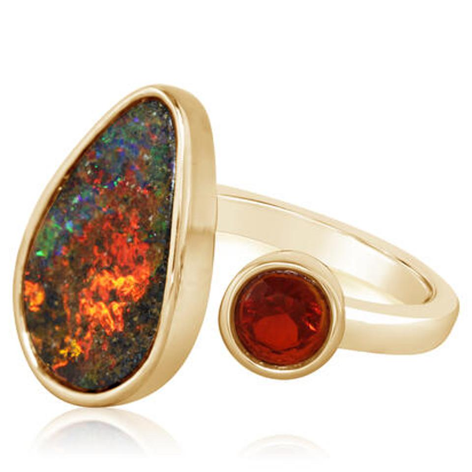 Australian Boulder opal and fire opal ring by Parlé gems