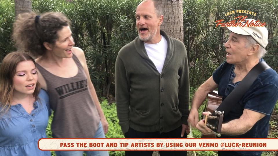 (Left to right) Lulu Simon, Edie Brickell, Woody Harrelson and Paul Simon perform during ″Luck Presents 'Til Further Notice.″ Thursday, March 19, 2020