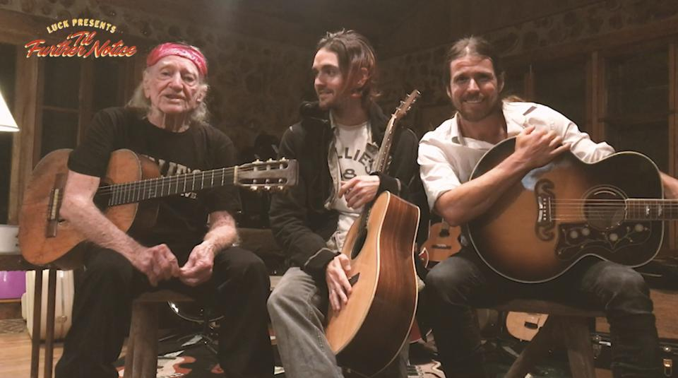 (Left to right) Willie, Micah and Lukas Nelson perform during the ″Luck Presents 'Til Further Notice″ online streaming benefit. Thursday, March 19, 2020