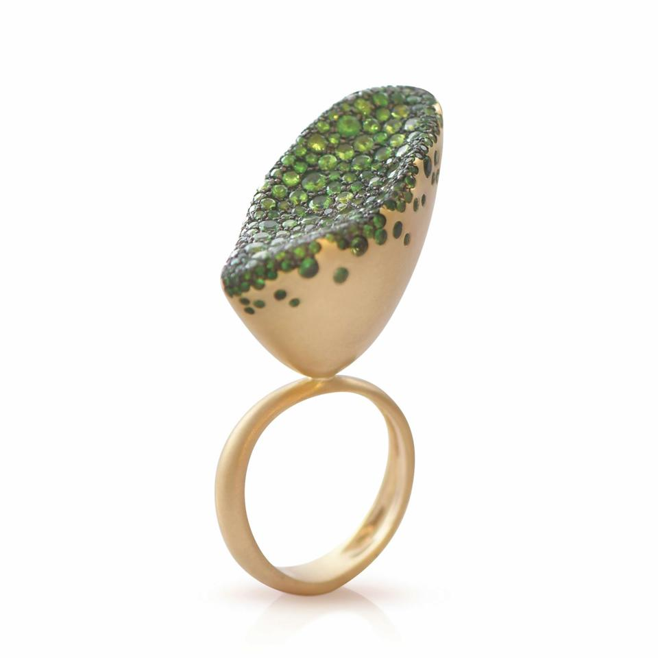 18-karat gold and Tsavorite garnet ring by Nada Gazal