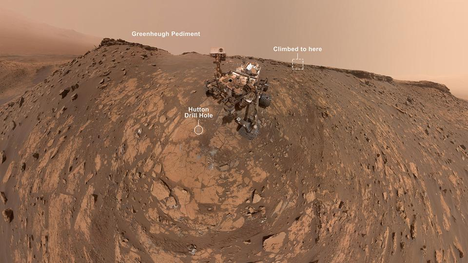 Color photo of the Curiosity rover posed on a Martian hilltop, with rock outcrops labelled.