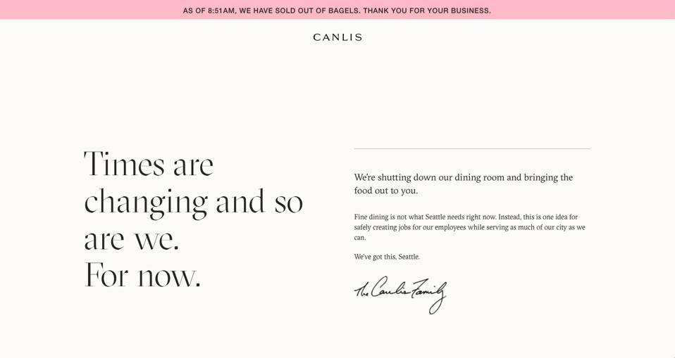 Canlis restaurant website screenshot