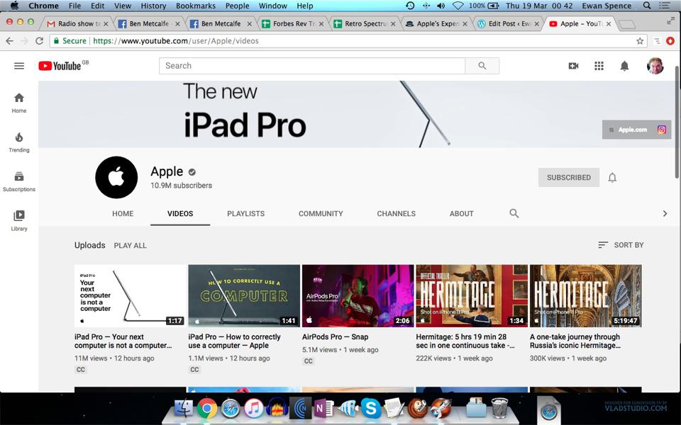 Apple's YouTube page