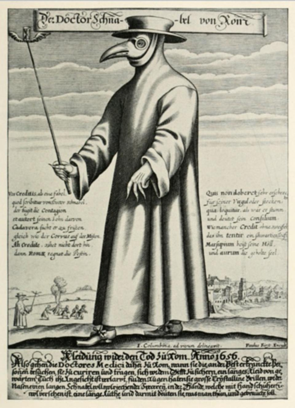 A plague doctor wears a full gown and a bird shaped mask.
