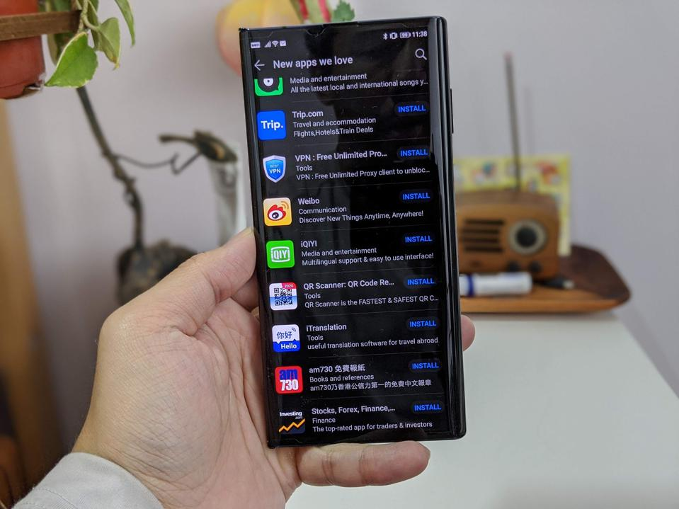Huawei's AppGallery showing a list of top apps available on the Huawei Mate XS.